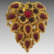 Marked Czechoslovakia gold tone floral design dress clip