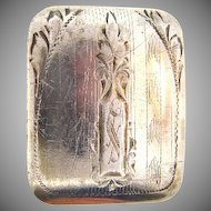Signed Marsh and sterling 1920's etched belt buckle