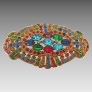 1940's white metal with gold wash multicolored glass stone Brooch