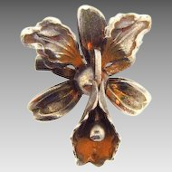 Small vintage Cattleya orchid figural scatter pin