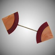 Unusual Art Deco celluloid and wood Jabot or Hat Pin