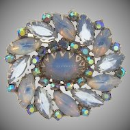 Vintage 1960's rhinestone Brooch with opaque and clear blue stones