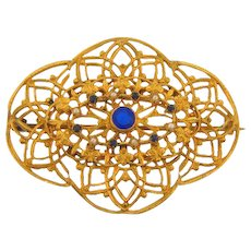 Gorgeous delicate open design Victorian sash pin with deep blue glass stones and imitation pearls