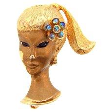 Signed Trifari China girl  figural gold tone Brooch