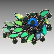 Gorgeous vintage Blue/Green rhinestone Brooch