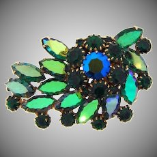 Gorgeous vintage Blue/Green rhinestone Brooch