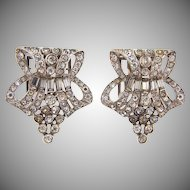 Signed kTf  1935 Art Deco crystal rhinestone matched set of Dress Clips