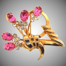 Abstract retro 1950's pink and crystal rhinestone Brooch