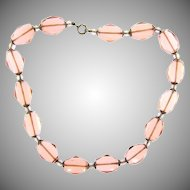 Art Deco pink faceted glass bead choker Necklace