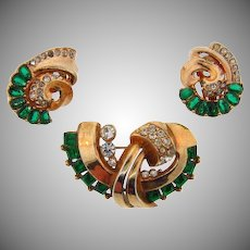 1940's Art Deco Abstract rhinestone Brooch and matching clip on Earrings
