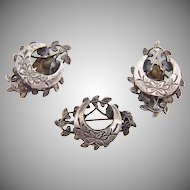 Lovely sterling silver vintage floral Brooch and clip on Earrings