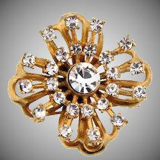 Lovely c1950 - 1960's gold tone brooch with crystal rhinestones