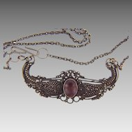 Marked 925 sterling silver delicate pendant choker Necklace with amethyst stone