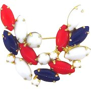 Vintage Patriotic Brooch in red,white and blue solid colored rhinestones