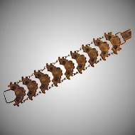 Vintage Etruscan design gold tone link bracelet