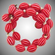 Vintage double wrap around Bracelet with oval early plastic beads