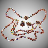 Signed Bergere amber AB faceted glass bead and rhinestone set