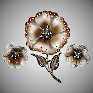 Signed Hedy flower brooch with Clip on earrings