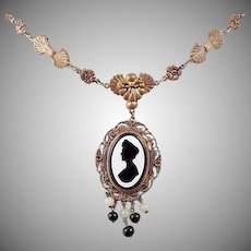 Vintage floral Necklace with Silhouette glass pendant with bead drops