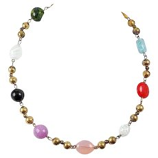 Early art Glass bead necklace Sports Ring Clasp