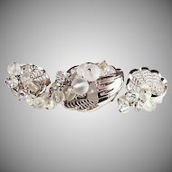 Parklane brooch & ear clip set shell shaped dangling beads bright silver tone