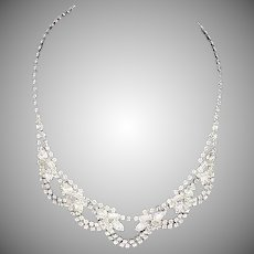 Signed Kramer of New York necklace crystal rhinestones Silver tone plating