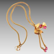 1950's Retro bolero style Necklace with leaf design pink and crystal rhinestone slide