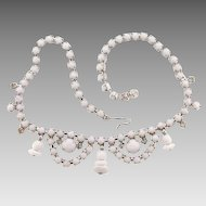 Vintage 1950's white bead Choker Necklace with decorative drops and crystal rhinestones