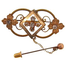 Vintage 1920's Victorian Revival gold tone floral Brooch with safety chain and bar