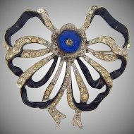 Vintage 1940's pot metal rhinestone and blue enamel Brooch