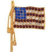 Vintage patriotic American flag brooch with red,crystal and blue rhinestones