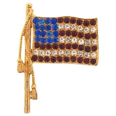 Vintage patriotic American flag brooch with red,crystal and blue rhinestones