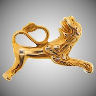 Signed MMA gold tone Foo Dog Brooch