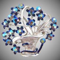 Signed Star rhinestone flower basket Brooch with blue AB stones