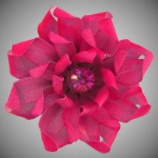 Signed Coro enamel metal flower Brooch in shades of pink