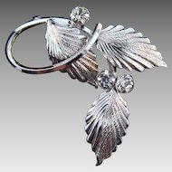 Star - Art sterling leaf Brooch with crystal rhinestones