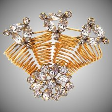 Signed Star - Art 1/20 12 kt gold filled retro Brooch of coils and rhinestones