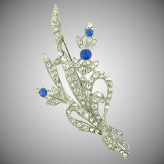 Vintage 1940's white metal large Brooch in a floral design with rhinestones