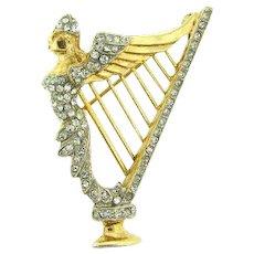 Unique figural harp Brooch with bright crystal rhinestones