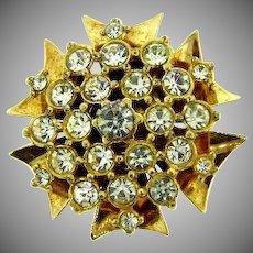 Vintage gold tone Brooch with crystal rhinestones