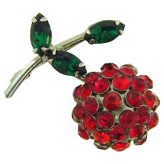 Signed Weiss Cherry Brooch with red and green stones