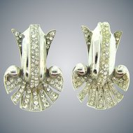 1940's Art Deco matching pair of Fur Clips with crystal rhinestones