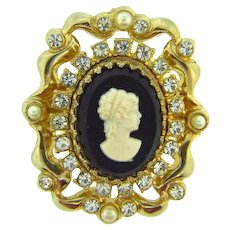 Signed Coro 1950's Brooch with crystal rhinestones and imitation cameo