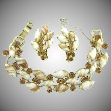 Vintage D & E Juliana 5 link gold fluss Bracelet and matching clip on Earrings