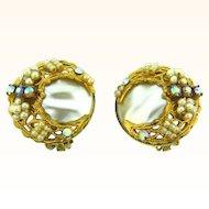 Vintage clip on imitation baroque pearl Earrings filigree imitation seed pearls and rhinestones