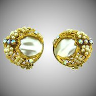 Vintage clip on imitation baroque pearl Earrings filigree imitation seed pearls and rhinestones