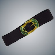 Vintage grosgrain ribbon bracelet with Egyptian themed buckle