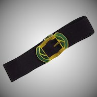 Vintage grosgrain ribbon bracelet with Egyptian themed buckle
