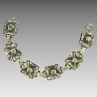 Marked sterling floral link Bracelet