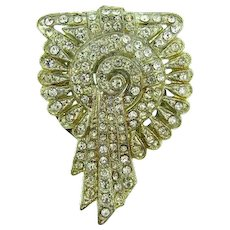 1940's Art Deco dress clip with pave set crystal rhinestones
